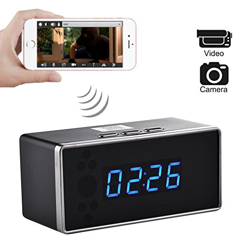 WiFi Hidden Camera HD Spy Mini Camera Night Vision Clock Wireless Remote Security Monitoring Motion Detection Video Recorder Nanny Cam No Audio