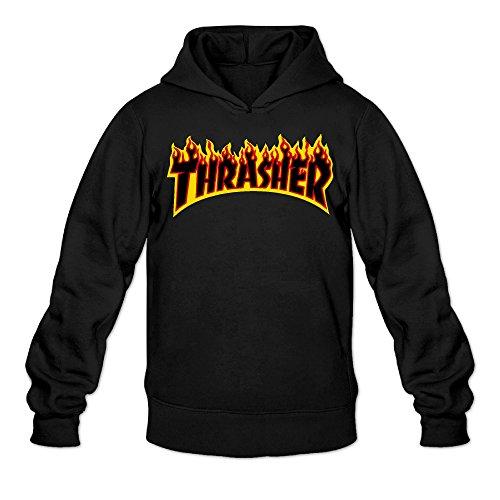 Liying Men's Thrasher Magazine Flame Logo Hooded SweatshirtsLong Sleeve L -