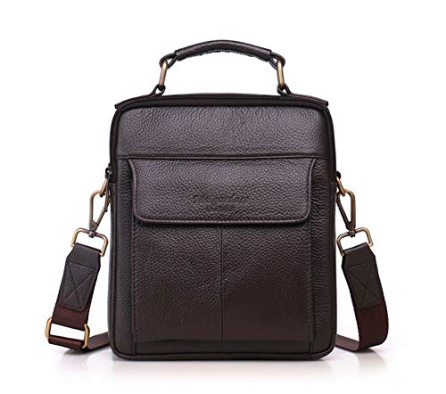 Cow Leather Men Shoulder Bags Casual Crossbody Bags for Men Small Genuine Leather Messenger Handbags 2018 Man Totes,Coffee