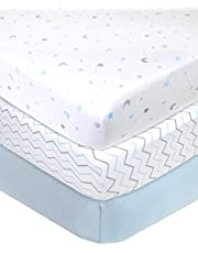 American Baby Company 3 Piece 100% Cotton Jersey Knit Fitted Crib Sheet for Standard Crib and Toddler Mattresses, Blue Star/Zigzag, for Boys and Girls