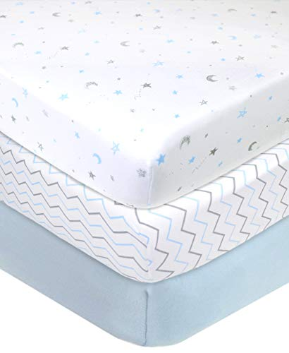 (American Baby Company 3 Piece 100% Cotton Jersey Knit Fitted Crib Sheet for Standard Crib and Toddler Mattresses, Blue Star/Zigzag, for Boys and Girls)
