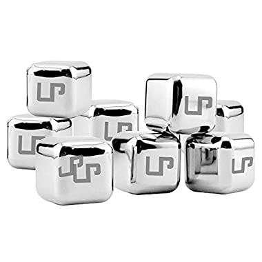 LP Whiskey Stones,Stainless Steel Ice Cubes Drink Coolers with Plastic Storage Box Tongs for Wine Soda,Best Premium Gift For Men,Set of 8(silver )