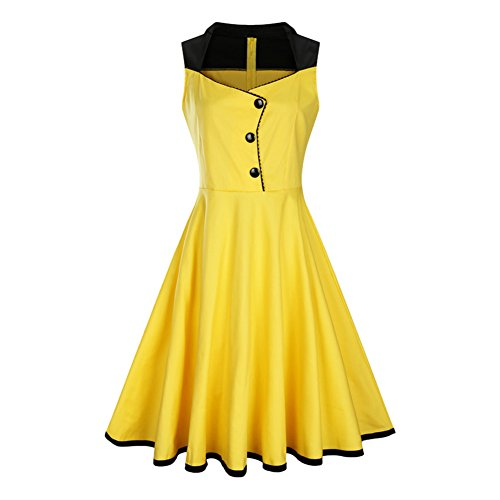 [Tecrio Women Vintage 40s 50s V-neck Sleeveless Rockabilly Party Swing Dress L Yellow] (1940s Pin Up Girl)