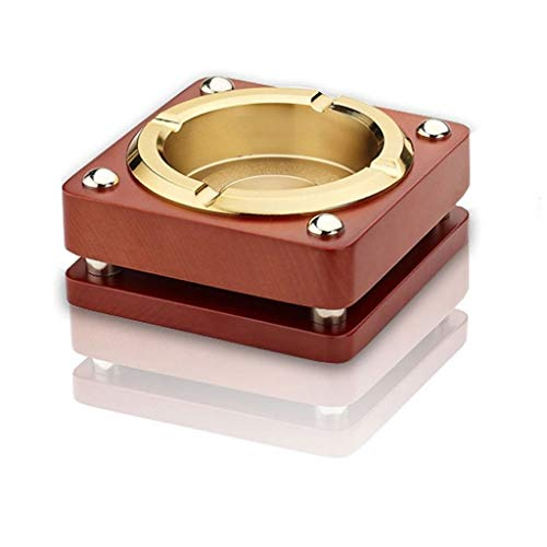 - ROLLYYG Creative Personality Fashion Smoke Metal Solid Wood Ashtray Hotel Bar Living Room Office Ashtray Decoration