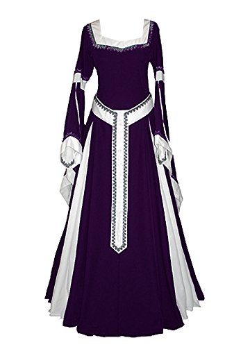 Misassy Womens Medieval Dress Renaissance Costumes Irish Over Long Dress Cosplay Retro Gown]()