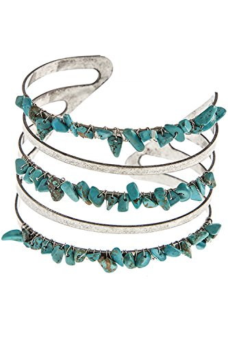 TRENDY FASHION JEWELRY SEMI PRECIOUS STONE CHIP CUFF BRACELET BY FASHION DESTINATION | (Silver/Turquoise)