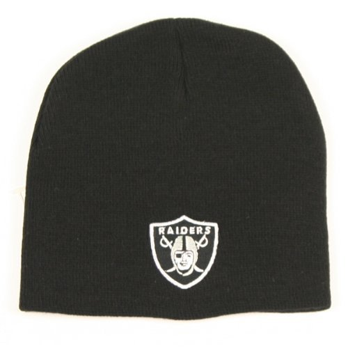 Oakland Raiders Black Skull Cap - NFL NY Cuffless Beanie Knit (Raiders Logo Pin)