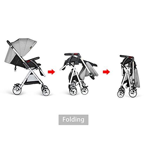 Besrey Lightweight Foldable Baby Stroller - Gray by besrey (Image #4)