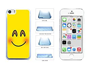 Bright Yellow Blushing Smiley Face Clear Plastic Phone Case Back Cover Apple iPhone 5c