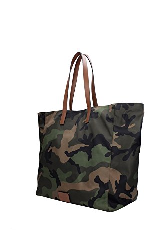 Borse Shopping Valentino Garavani Uomo Tessuto Verde Mimetico e Marrone HYR00384ANY302Y20 Verde 19x35x37 cm