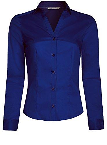 7500n Col Chemise Femme en Ultra Ajuste Bleu oodji V wOTqSz7xn