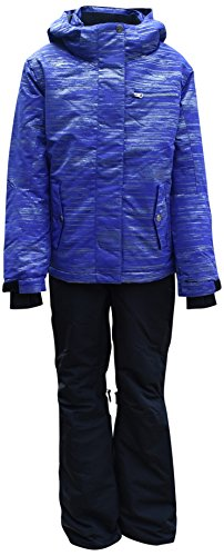 Pulse Big Girls Youth 2 Piece Snowsuit Ski Jacket Snow Pants Glitter (Medium (10/12), Purple/Black)
