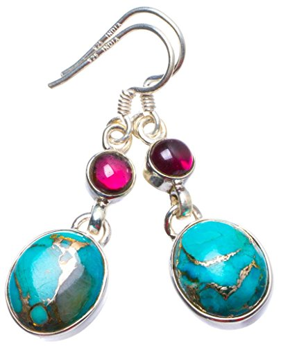 Natural Copper Turquoise and Amethyst Handmade Unique 925 Sterling Silver Earrings 1.5