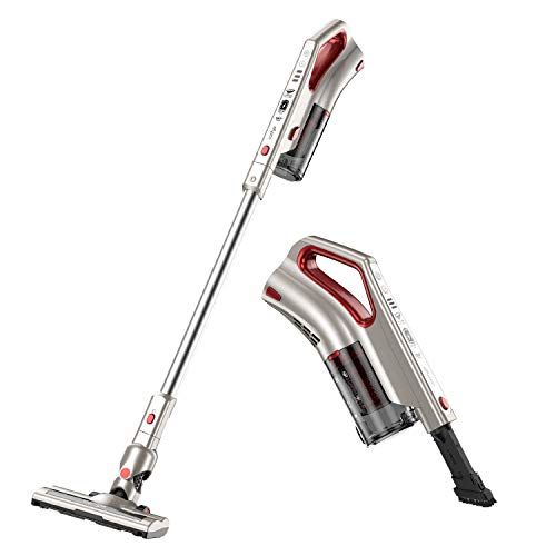 Comfyer Cordless Vacuum Cleaner, 2 in 1 Bagless Stick Vacuum, 8Kpa Multi-Cyclonic Suction & LED Power Brush, Lightweight Handheld Vacuum with HEPA Filter, 22.2V Detachable Battery and Wall ()