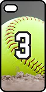 Softball Sports Fan Player Number 3 Black Plastic Decorative iPhone 6 Case