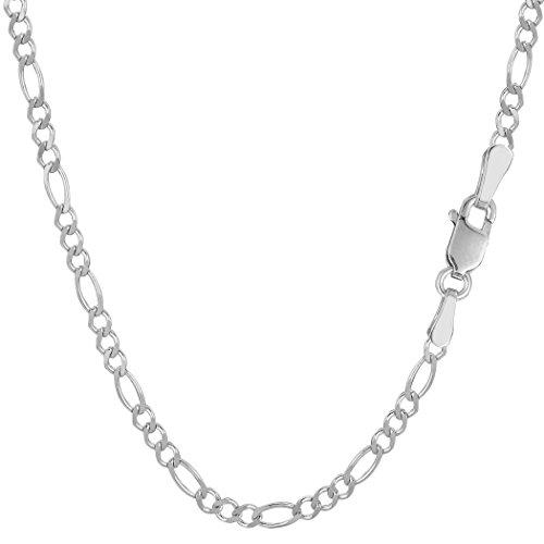 14K Or Blanc chaîne classique maille figaro-Largeur: 2.6mm