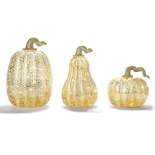 Set Thanksgiving Pumpkin - LampLust Gold Pumpkin Centerpiece with LED Lights - Set of 3, Mercury Glass Style, Fall, Autumn, Halloween & Thanksgiving Decorations, Batteries and Timer Included
