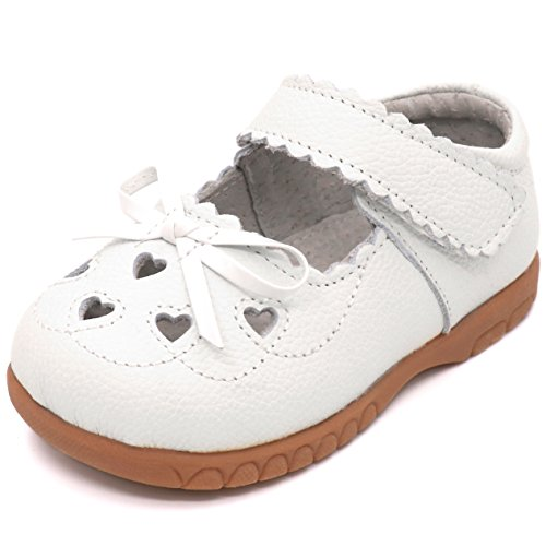 (Femizee Girls Leather Bows Design Soft Round Toe Princess Dress Mary Jane Flat Shoes(Toddler/Little Kid),White,1505)