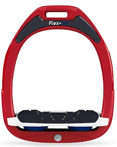 【 限定】フレクソン(Flex-On) 鐙 ガンマセーフオン GAMME SAFE-ON Mixed ultra-grip フレームカラー: レッド フットベッドカラー: ホワイト エラストマー: ネイビー 07798   B07KMPH3KP