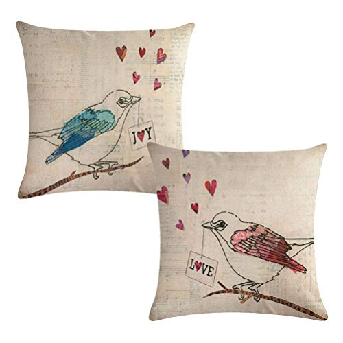 Love Birds Throw Pillow Covers Birds On Branches Square Couple Pillowcases Home Decorative Cushion Covers 18 x 18 Inches,2Pack for Family/Lovers/Valentine's Day/Wedding Decoratio (Love Birds) (Bird Couple)