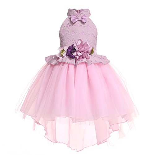 Teenages Girls Ball Gowns Flower Girl Dress Kids Children Country Party Formal Special Performance Dress Baptism Graduation Bowknot Tutu Lace Dresses Size 8 9 Years (Pink 150) -