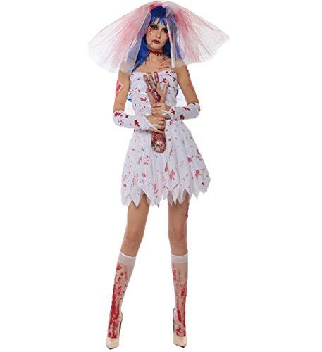 [Blugibedramsh Women's Halloween Costume Horror Bloody Zombie Bride Outfit Fancy Dress] (Horror Halloween Costumes For Women)