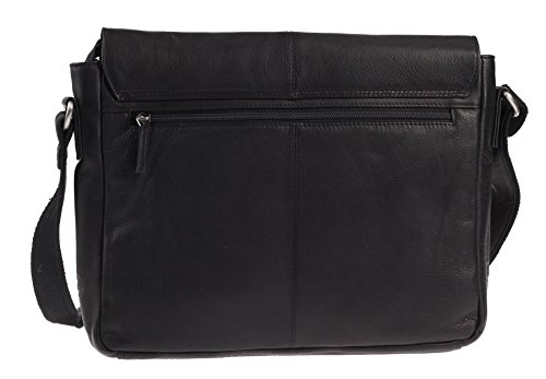 Greenburry Shoulder Compartment 34 Bag Black Cm Messenger Leather Pure Notebook SrZTqwSvxE