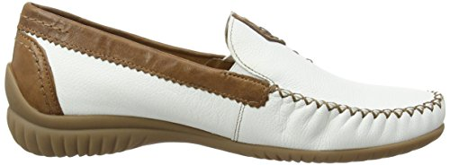 Gabor California, Mocassins (Loafers) Femme Blanc (White Leather/Copper Leather)