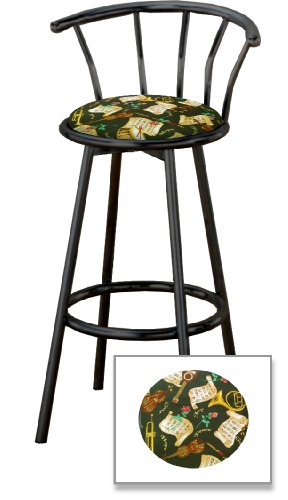 New 29'' Tall Black Metal Finish Swivel Seat Bar Stools with Religious God Hope Peace Love Theme Seat Cushions! by The Furniture Cove