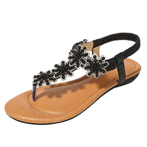 ♡QueenBB♡ Women Sandals Flats,Summer Girls Sandals Bohemian Rhinestone,Beach T-Strap Elastic Flip-Flops Black