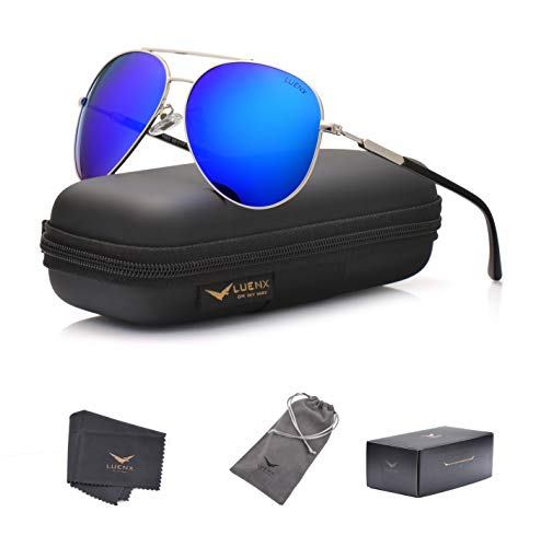 LUENX Mens Womens Aviator Sunglasses Polarized Mirror with Case - UV 400 Protection 60mm Dark Blue