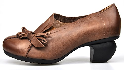 Toe CUNZHAI Chunky Mid Spring Womens Handmade Leather brown Shoes Dress Summer Heel Style1 Genuine Round Pumps gxng81q