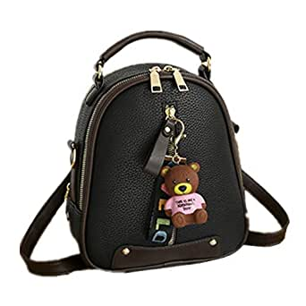 FTSUCQ Womens Casual Daypack Satchels Shoulder Handbags Casual Bucket Bag Hobos Satchels Purse (Black)