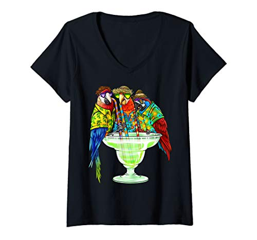 Womens Parrots Drinking Margarita Hawaiian Shirt Vacation Birds V-Neck T-Shirt