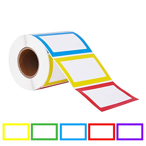 Colorful Bordered Name Tag Sticker Adhesive Labels(1 roll,500pcs,3.52 inch).Used for Parties,Schools,Students,Kids Clothes,Jars,Bottles,Food Containers.(5 Colors:Red,Yellow,Blue,Green,Purple) by Eathtek
