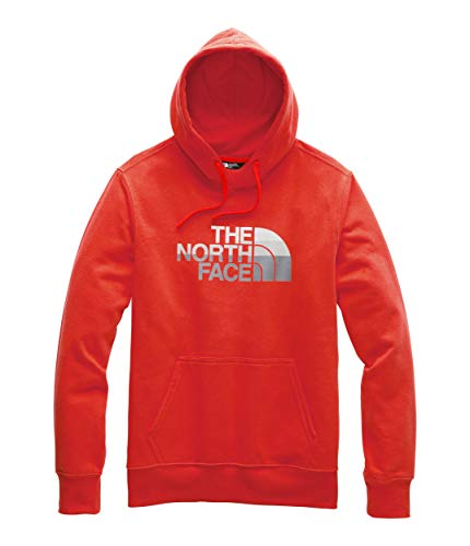 (The North Face Men's Half Dome Pullover Hoodie Fiery Red/Mid Grey Multi)
