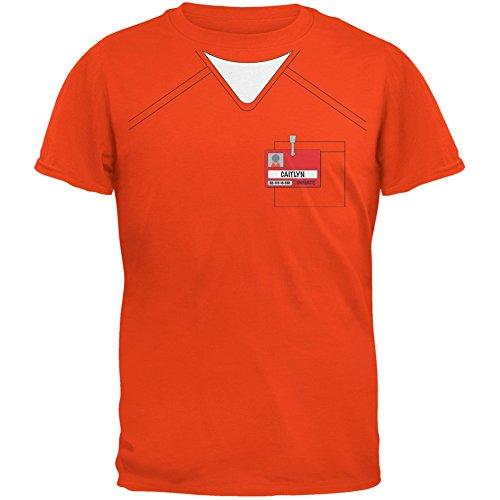 [Caitlyn Jenner Prisoner Uniform Costume Orange Adult T-Shirt - X-Large] (Caitlyn Jenner Costume)