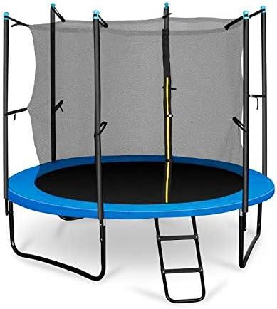 Klarfit Rocketboy 250 Cama elástica trampolin con Red de Seguridad (Superficie Base 250 cm diametro, sujecion 3 Patas Doble, Varillas de sujecion Acolchadas, Lona Resistente a los Rayos UV, Protector