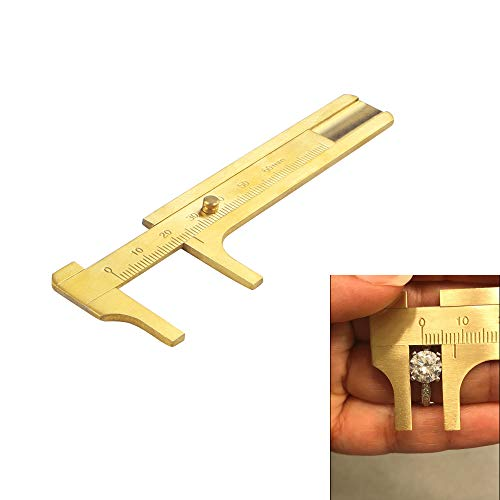 Brass Millimeter Gauge - Brass Caliper, Lily's Gift 80mm Gauge Vernier Pocket Caliper for Bead Wire Jewelry Measuring (Double Scale)
