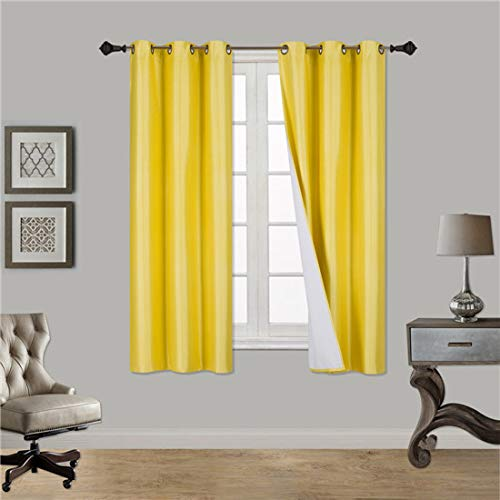 Back Foam Drape - LuxuryDiscounts 2 Piece Thick Faux Silk Blackout Insulated Room Darkening Grommet Top Window Curtain Panel Drapes with Foam Back Layer Protection (Yellow, 37