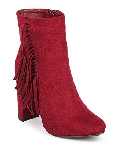 Breckelles DD65 Women Vertical Suede Fringe Almond Toe Block Heel Ankle Bootie Berry YFyUkL6