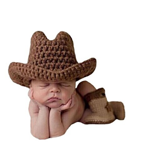 Shinystar Baby Photography Prop Crochet Knit Brown Cowboy Hat Boots Set (Style 3) (Baby Cowboy Costume)