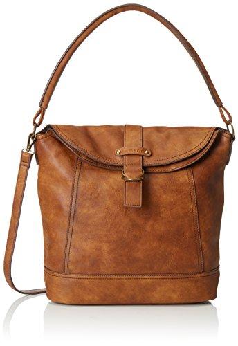 Tamaris Damen Gwyneth Hobo Bag Schultertaschen, Braun (Cognac 305), 31x40x14 cm