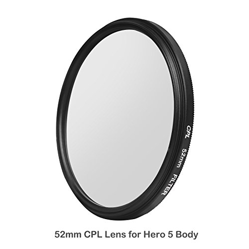 D&F 52 MM Professional Photography CPL(Circular Polarizer) Filter with Lens Cover and Adapter for GoPro Hero 5, Hero 6 Camera (Polarizing Adapter)