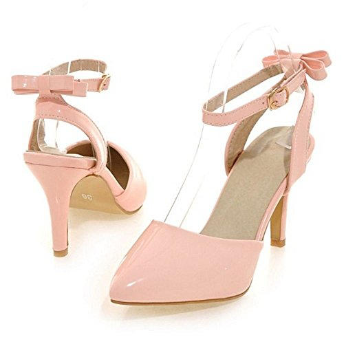 Women Closed Bow Strap Toe Size COOLCEPT Shoes Fashion Ankle With Pink Sandals Slingback Stiletto RAdYwdq