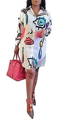 Antique Style Women's Autumn Fashion Casual Long Sleeve Eye See You Printed Basic Shirt Dress