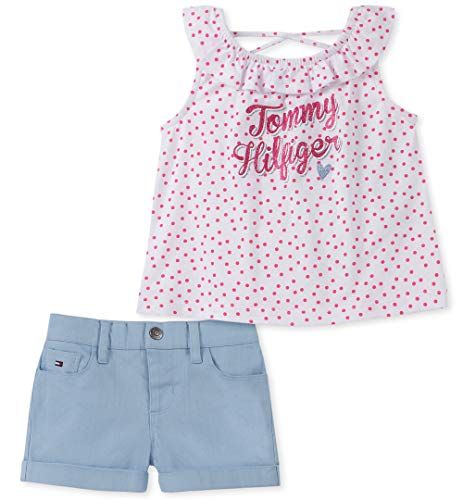 (Tommy Hilfiger Girls' Toddler 2 Pieces Shorts Set, Polka dots/Blue 3T)
