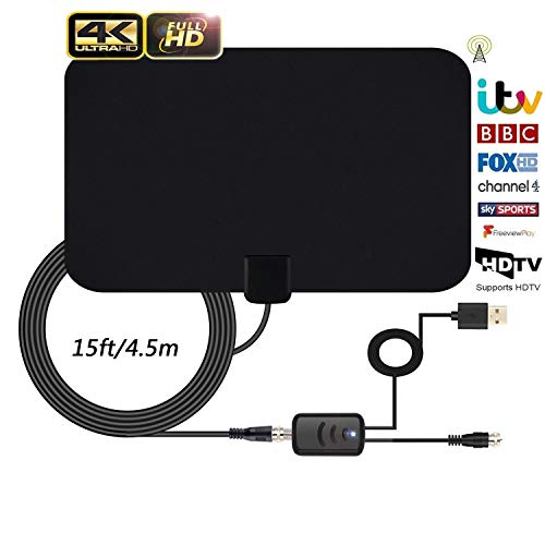 TV Aerial, Indoor TV Aerial, Over 60+Miles Long Range Access Freeview TV Aerial-...