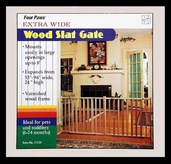 Four Paws Vertical Wood Slat Pet Gate -