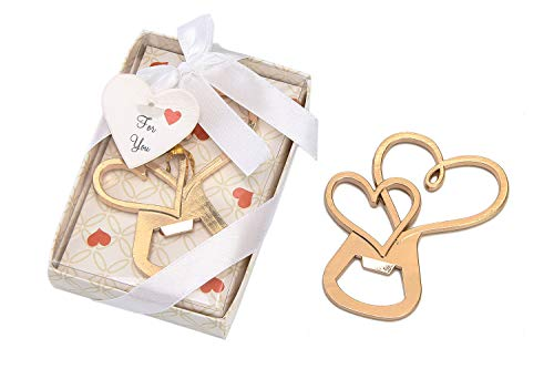 24 pcs Gold Bottle Openers Wedding Favors Decorations, Gift Box, Love Double Heart Shaped, Party Favors Supplies